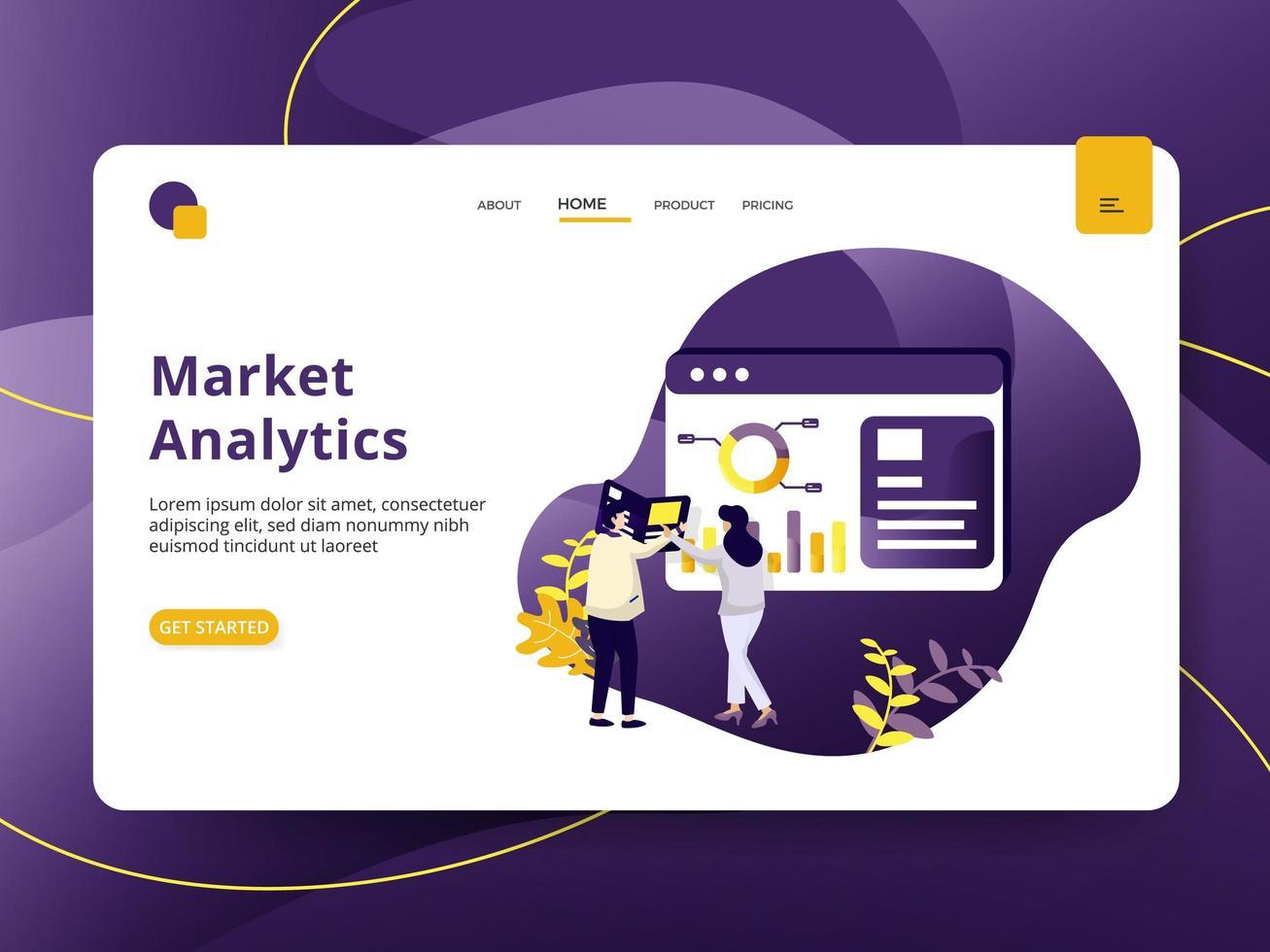 Landningssida Market Analytic vektor