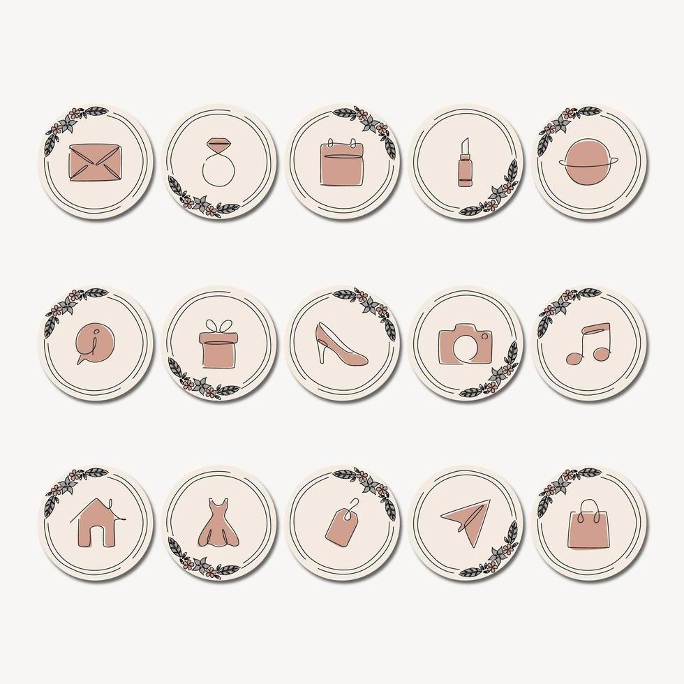 Capas de arte de destaque de linha de ícones vetor