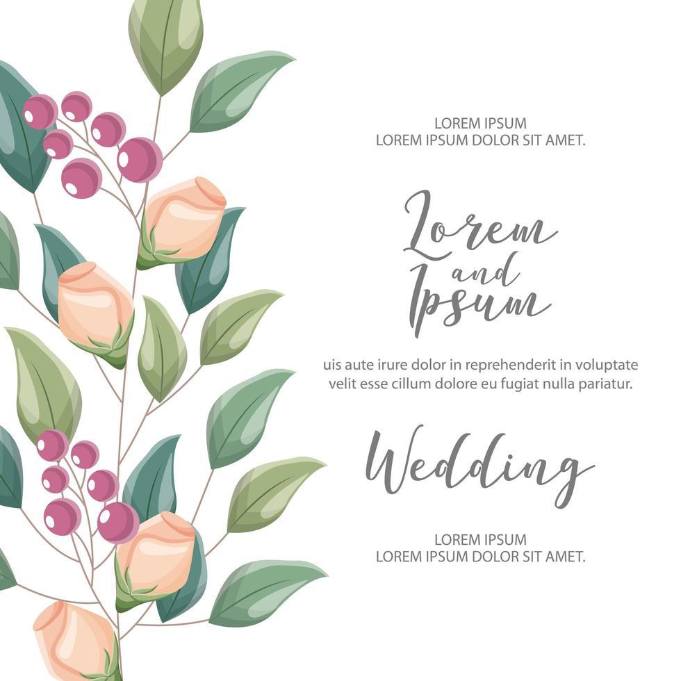 carte de mariage fleur vecteur