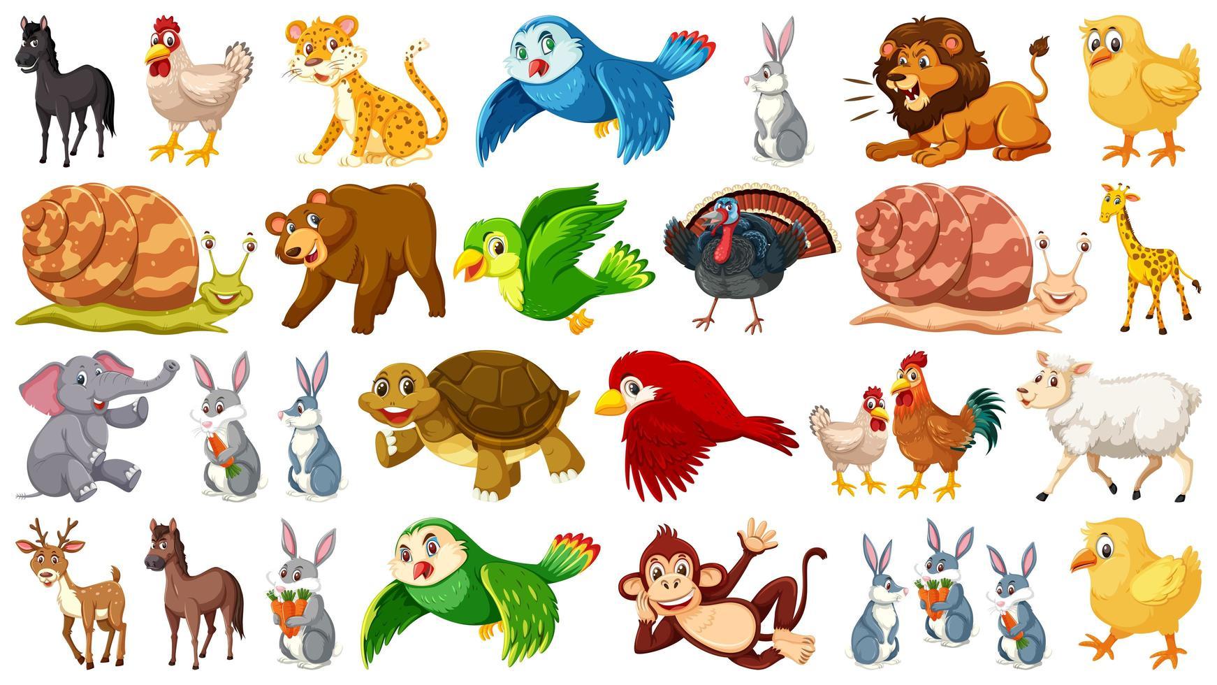 Set van wilde dieren tekens vector