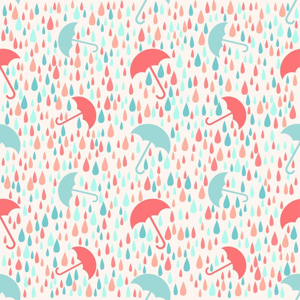 Giorno piovoso del tempo senza cuciture con il fondo del modello dell'ombrello vettore