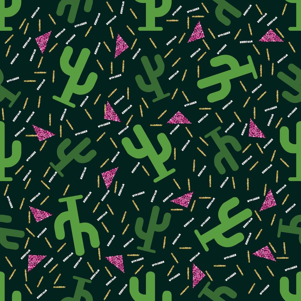 naadloze groene cactus patroon met glitter achtergrond vector
