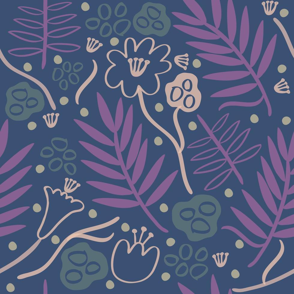 mão colorida sem costura desenhada de fundo padrão floral vetor