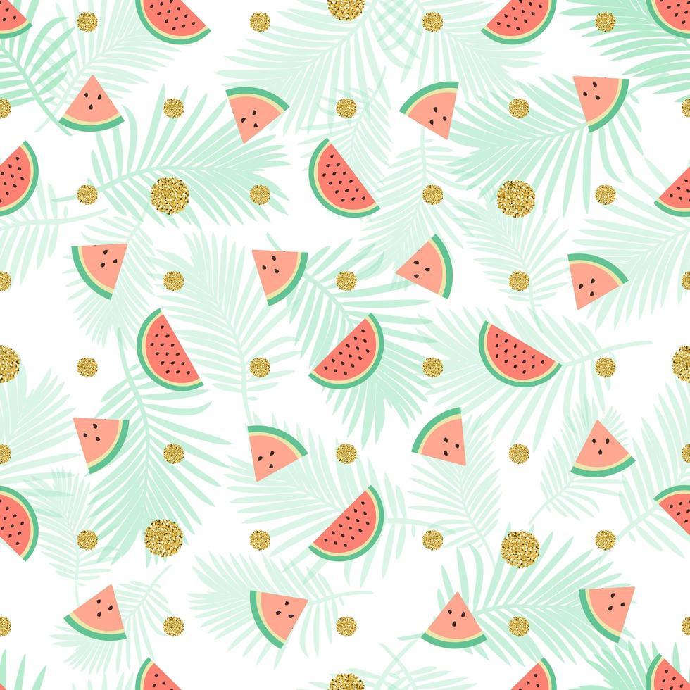 sömlös guldprickglitter med vattenmelonmönsterbakgrund vektor
