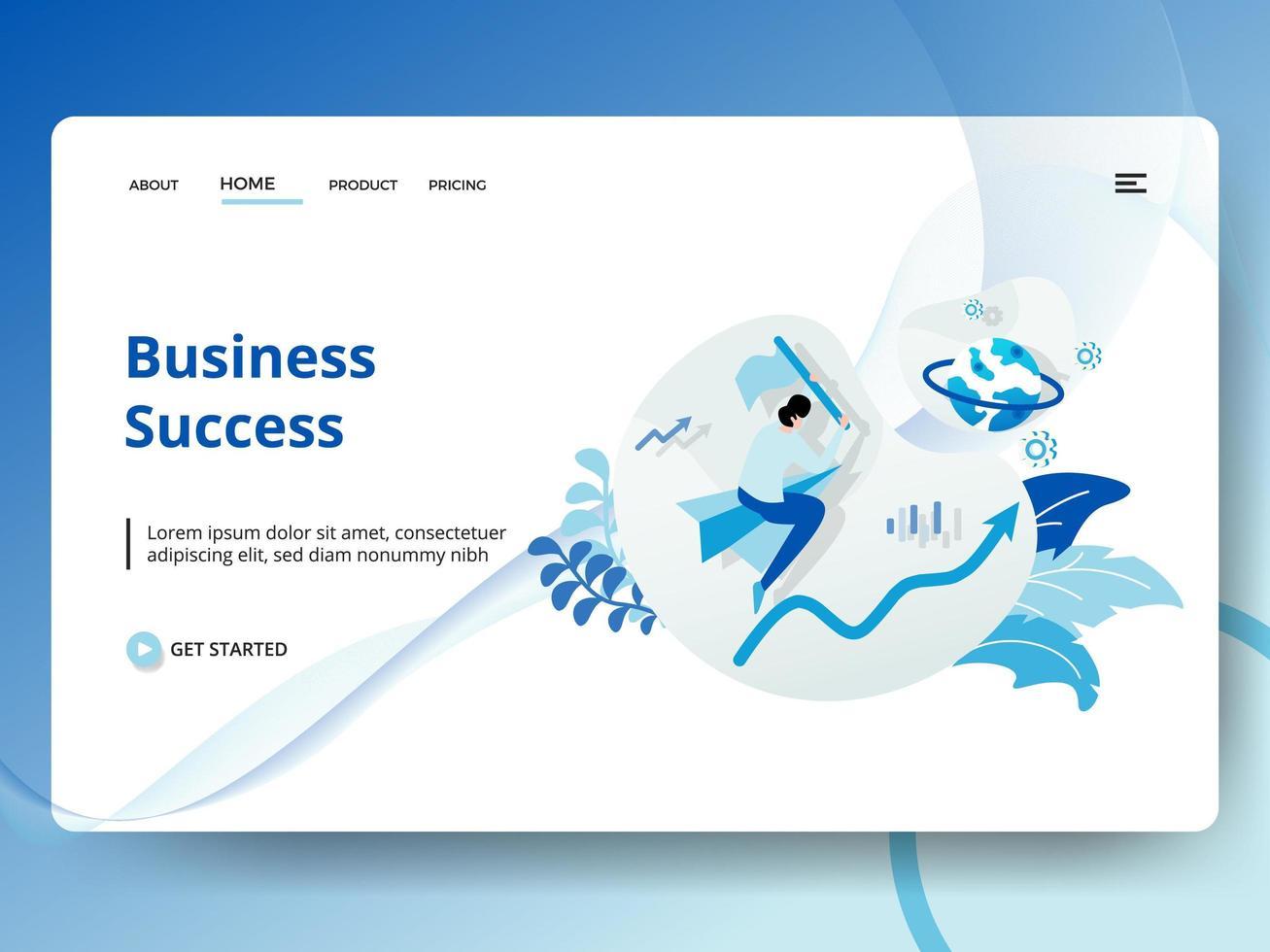 Página de aterrizaje Éxito empresarial vector