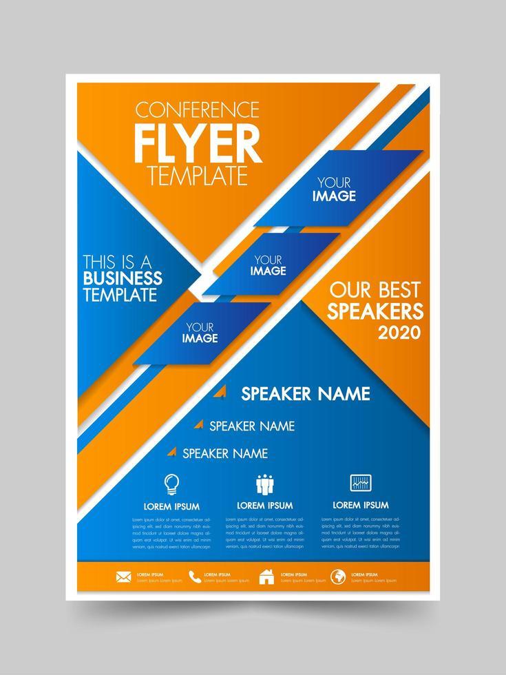 Brochure blue and orange geometric flyer template vector
