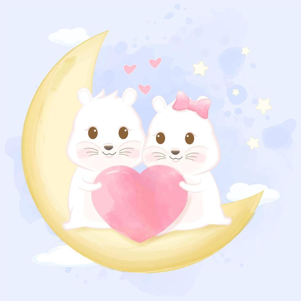 Paar hamsters op halve maan vector