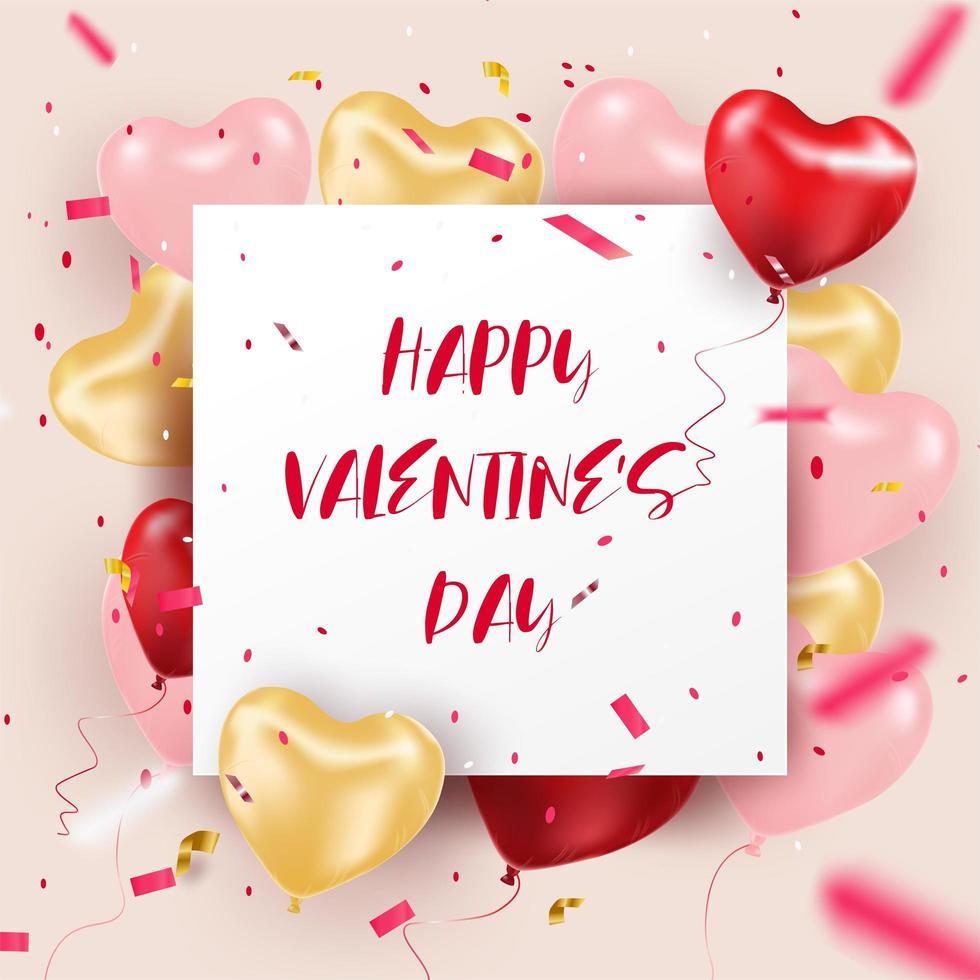 Feliz dia dos namorados cartão de balão coração realista 3d vetor