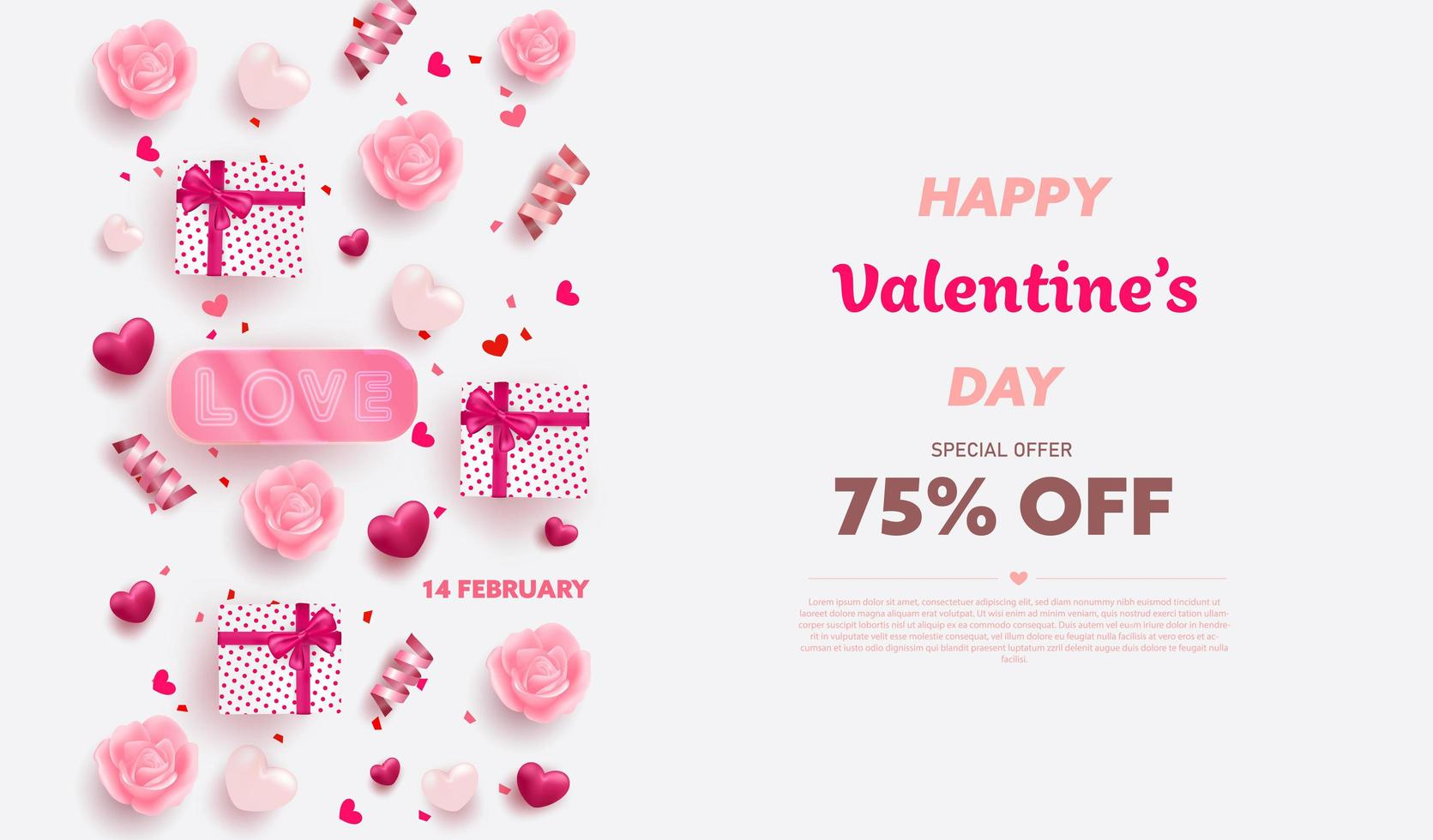 Happy Valentine's Day banner with Red and Pink luxury hearts vector