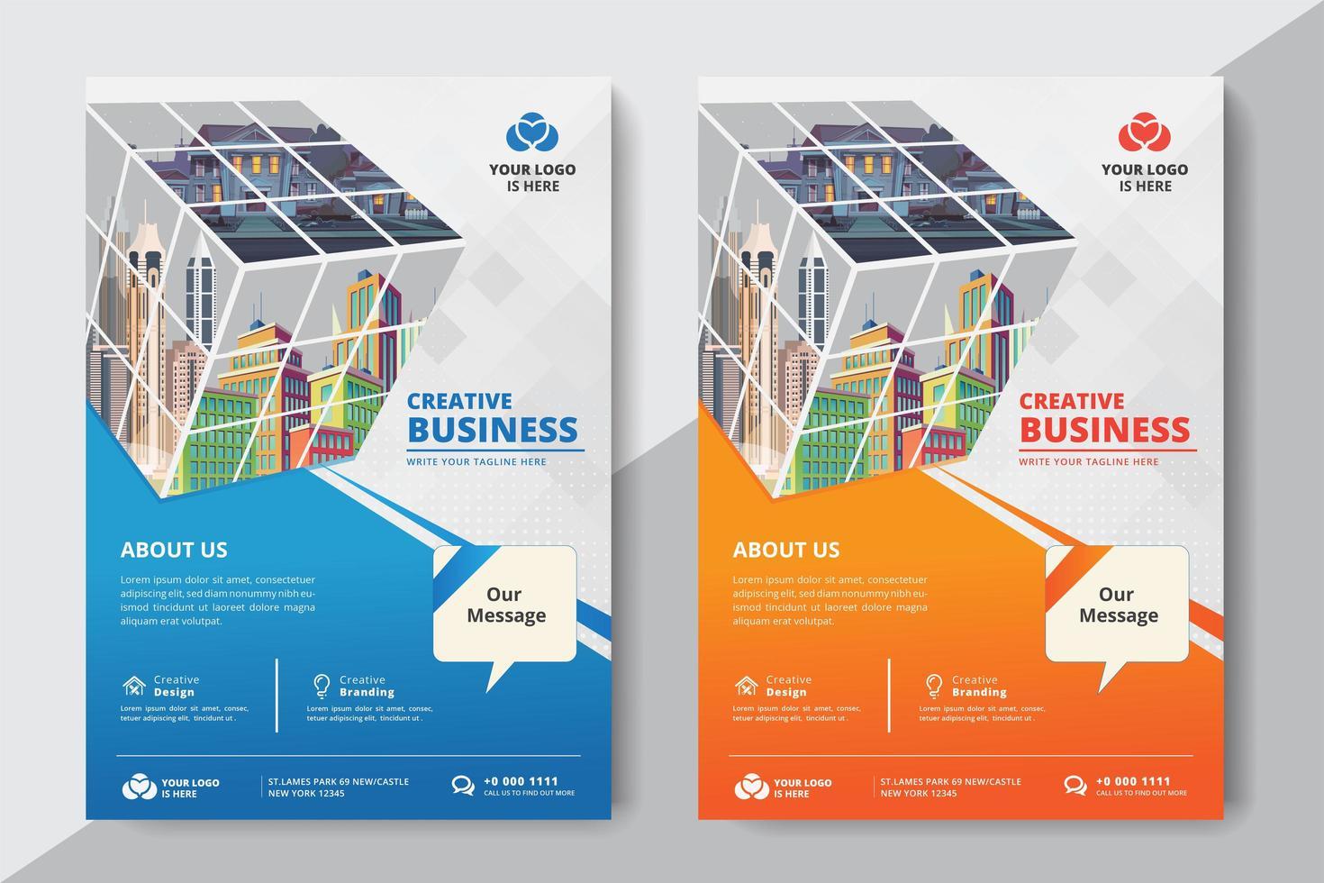 Plantilla de negocios corporativos con cubo vector