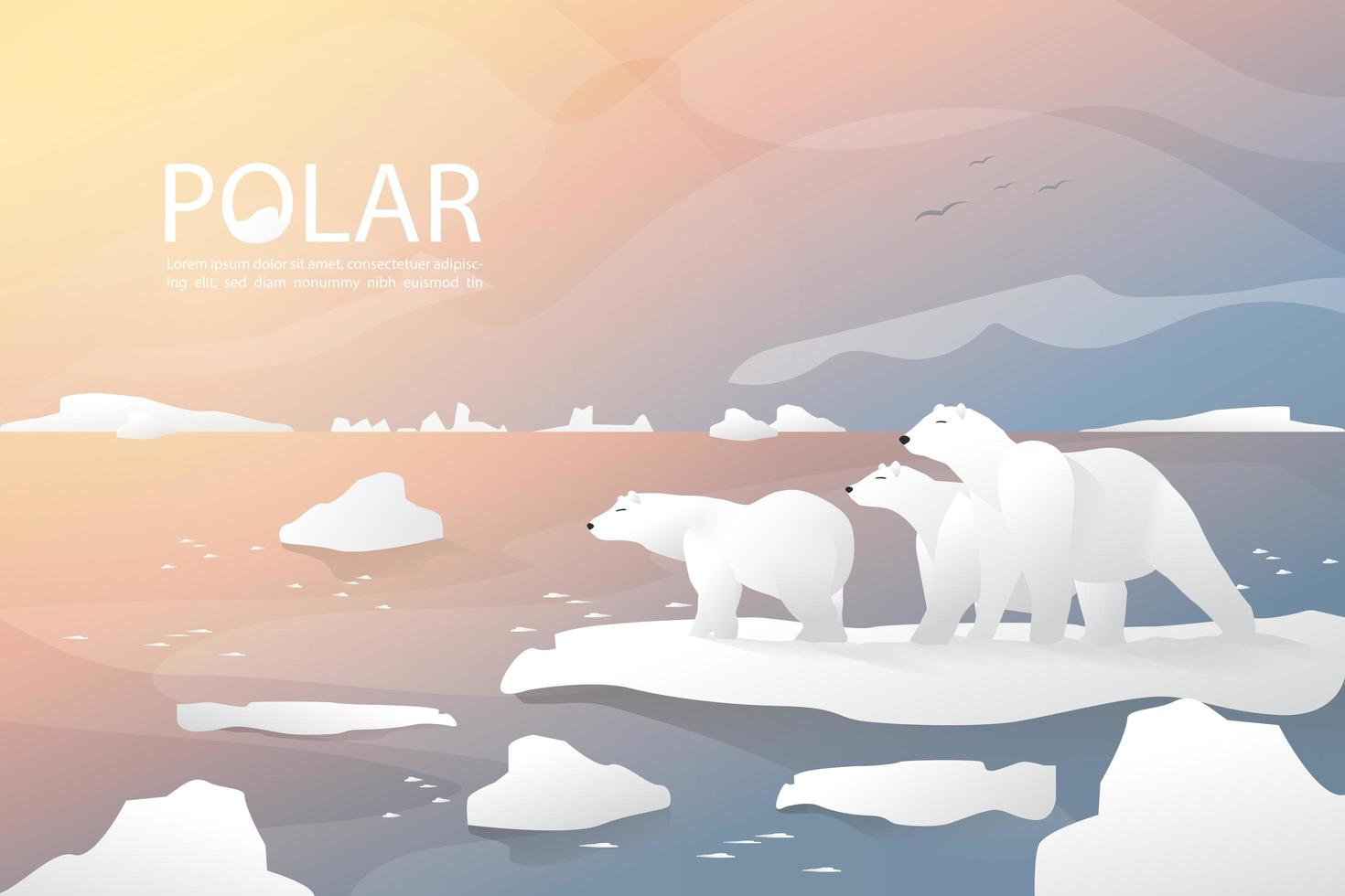 Polar bear and family are standing on ice background vector