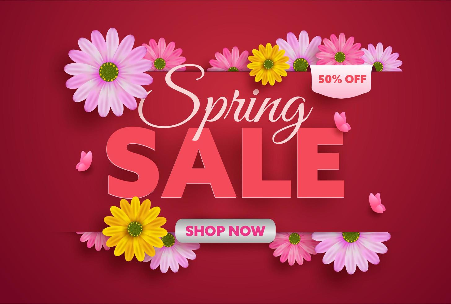 Projeto de plano de fundo de venda primavera com flores coloridas vetor