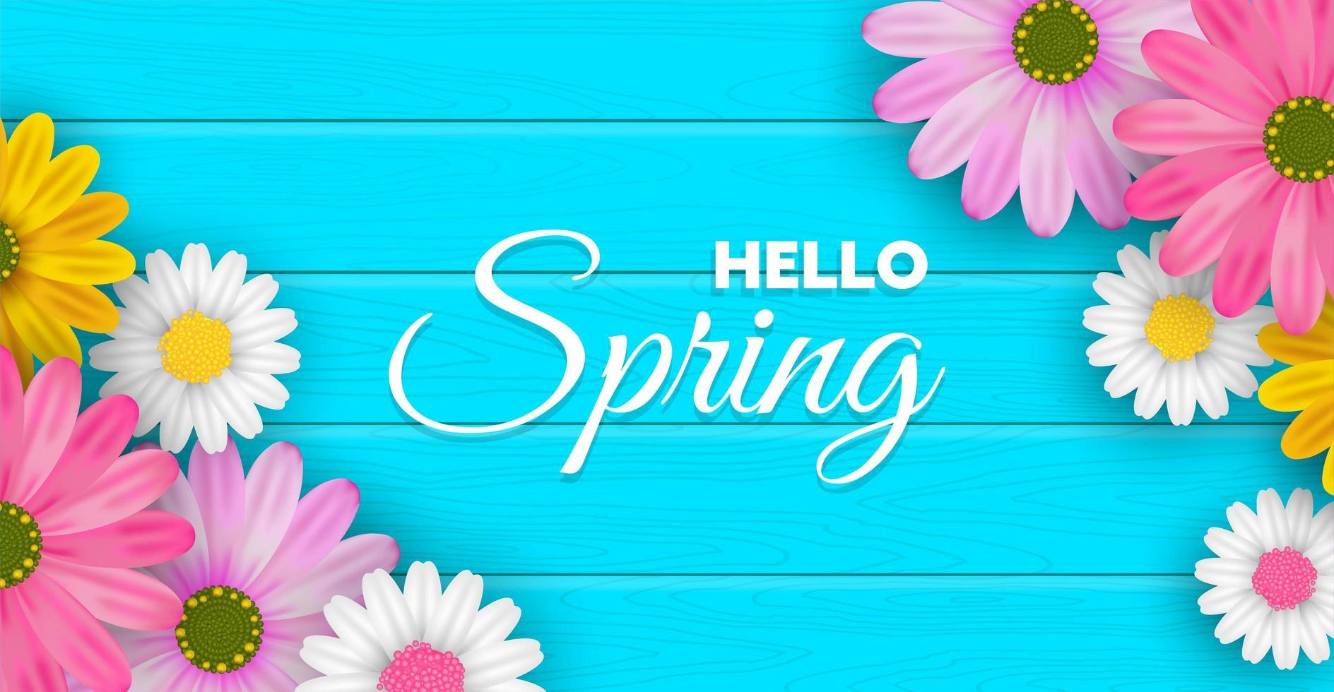 Olá fundo de flor de primavera vetor