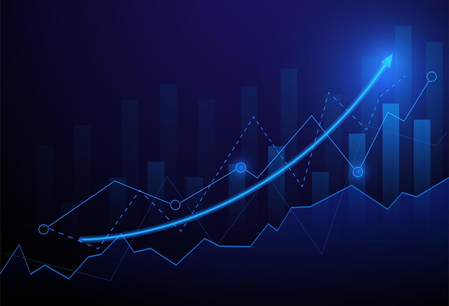 Grafico del grafico del bastone della candela di affari del mercato azionario vettore