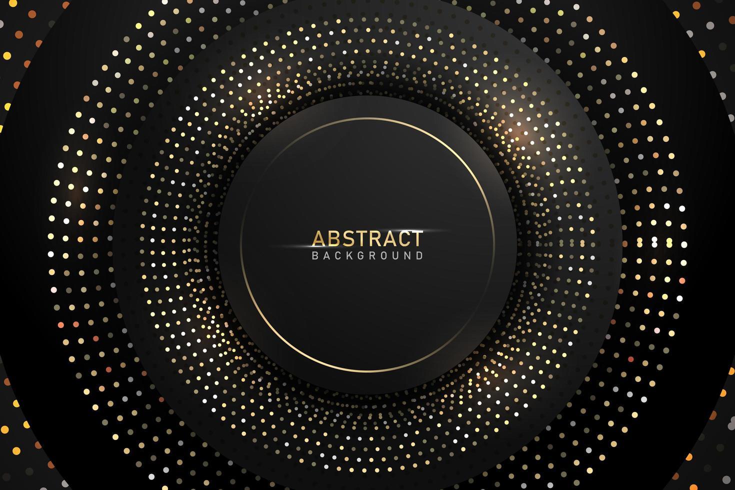 Fondo oscuro abstracto con elementos de brillo y brillo de círculo dorado brillante vector