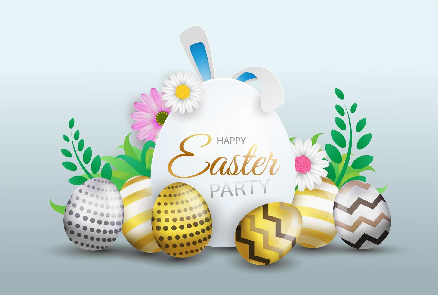 Happy Easter decoration background vector
