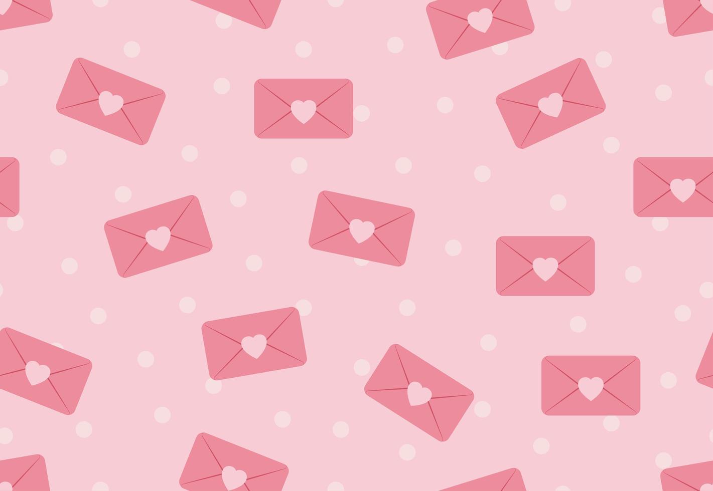 Naadloos patroon van liefdeenveloppen op roze pastelkleurstippen vector