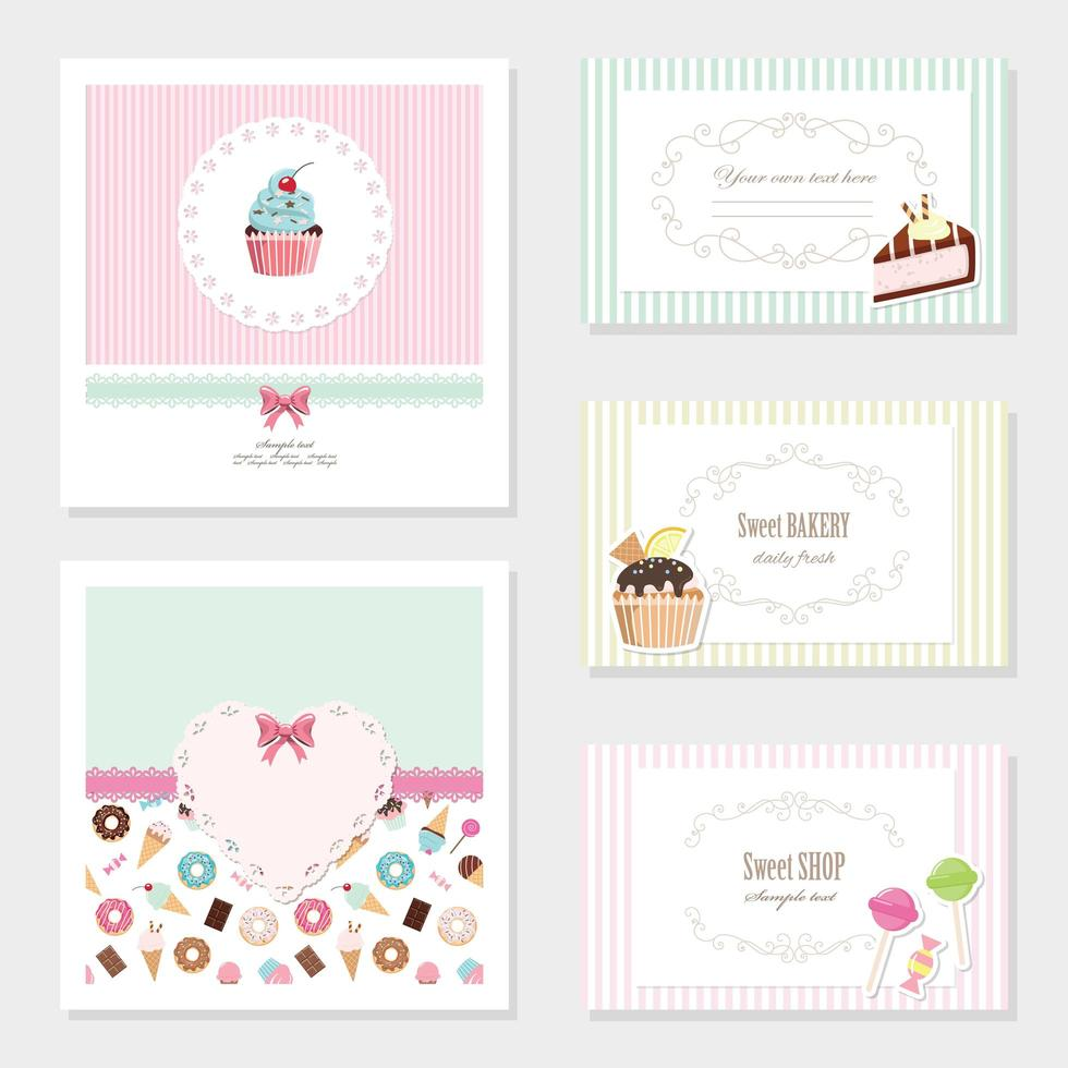 Cute sweets card templates set vector
