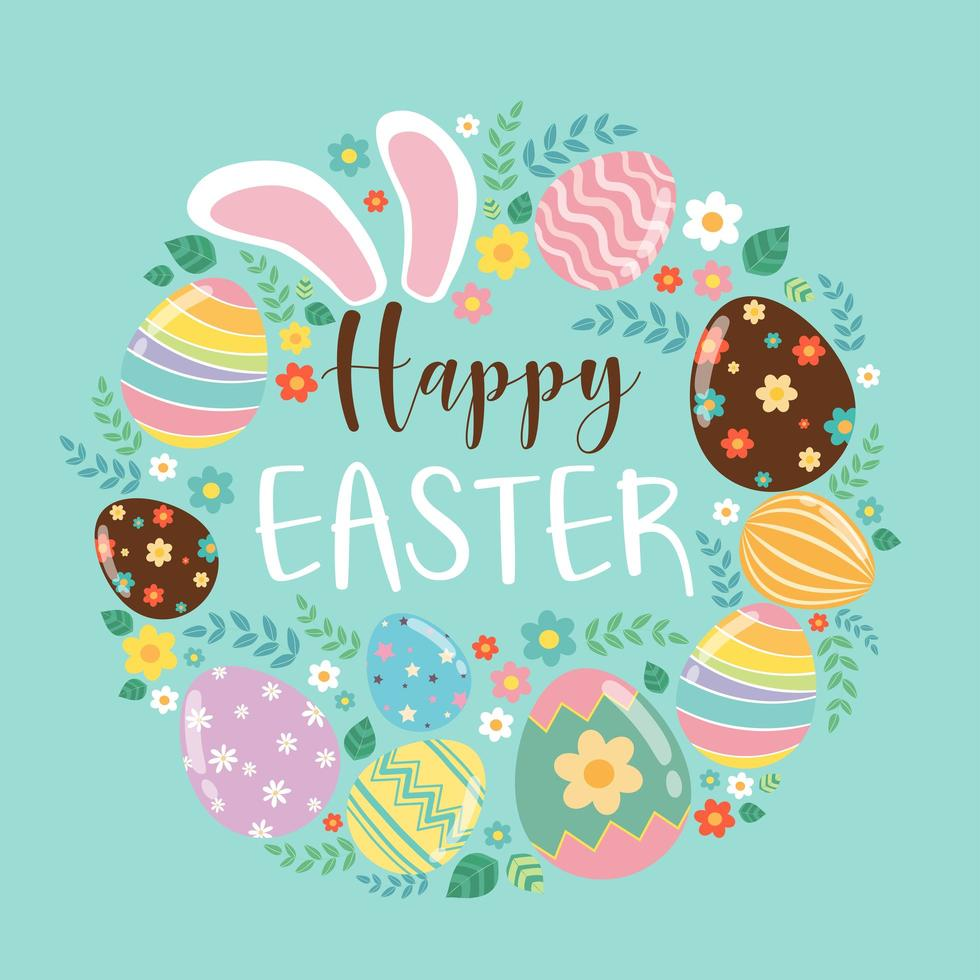 Tarjeta de felicitación colorida feliz Pascua con orejas de conejo, huevos y texto vector