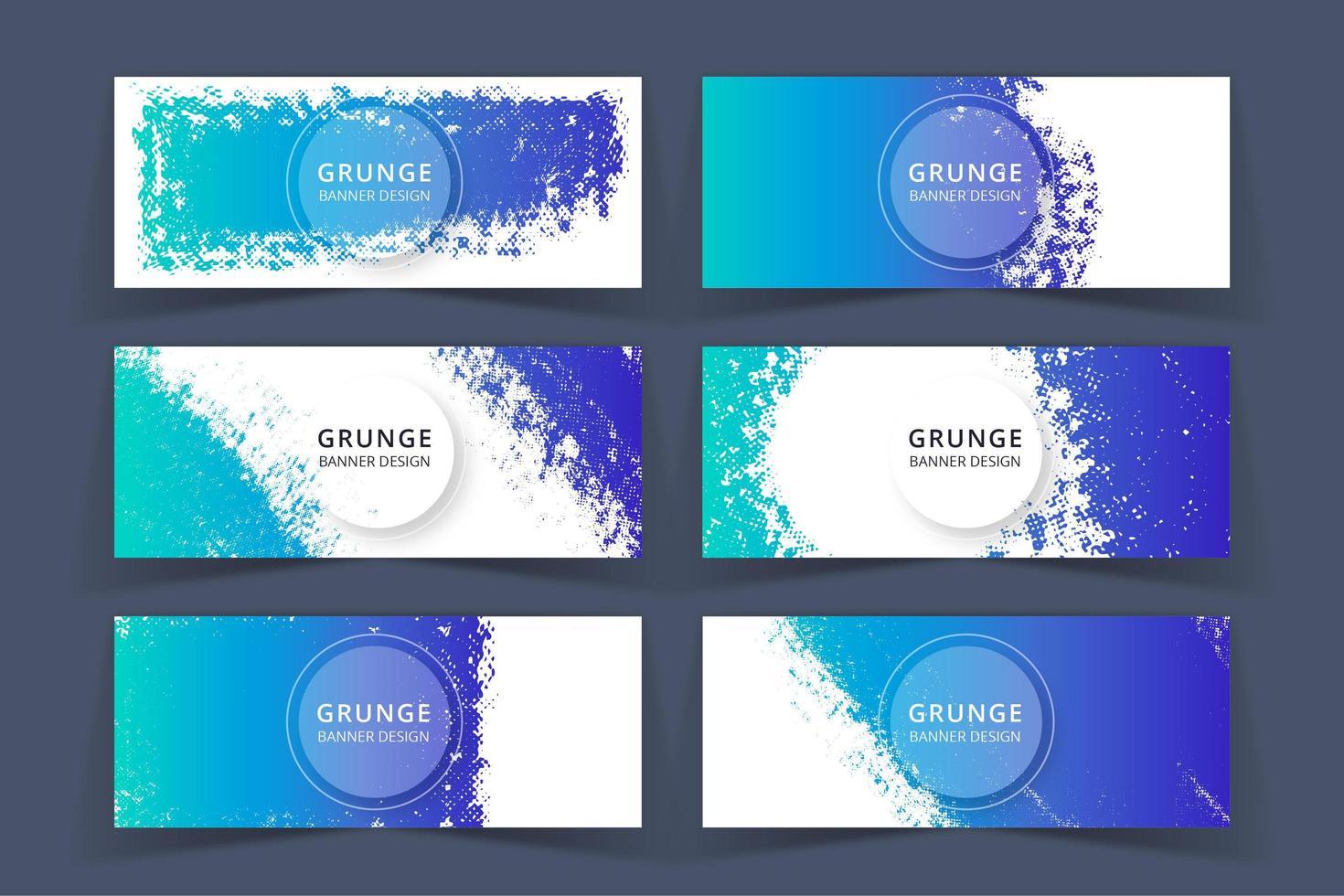 Ensemble de bannières de couleur bleu Art grunge vecteur
