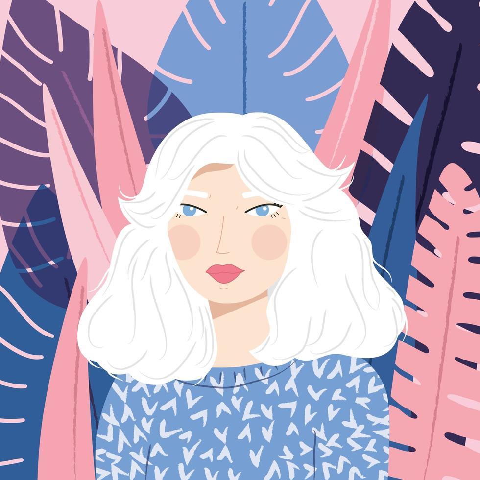 Retrato de uma menina de cabelos brancos com suéter estampado vetor