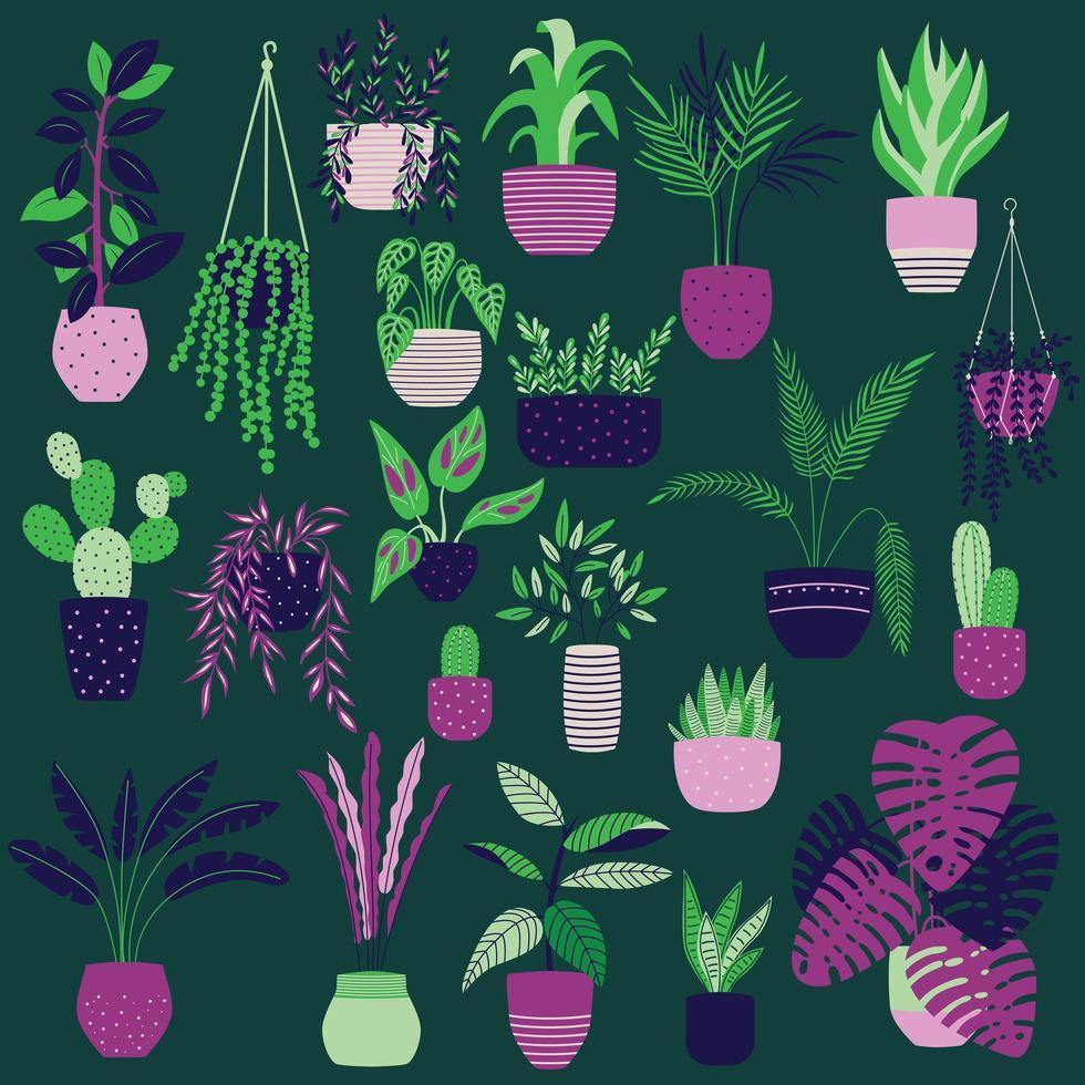 Colección de plantas de interior dibujadas a mano sobre fondo verde oscuro vector