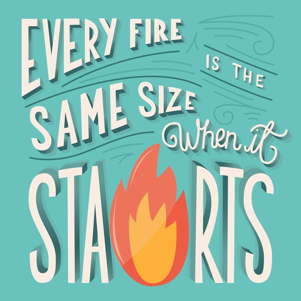 Cada fuego es del mismo tamaño cuando comienza la tipografía de letras a mano vector