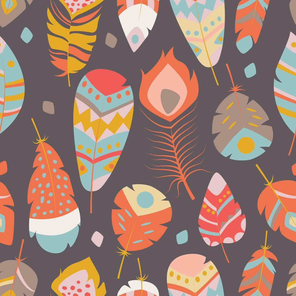 Seamless pattern with boho vintage vibrant feathers vector