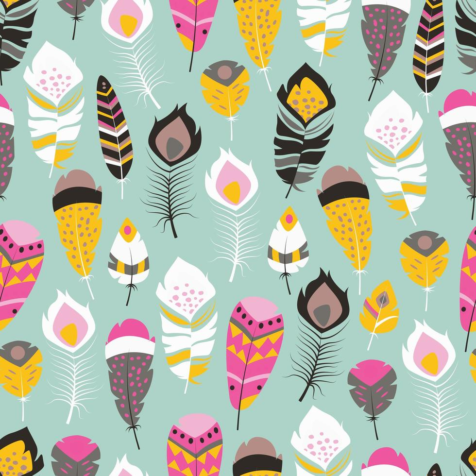 Seamless pattern with boho vintage bright feathers vector