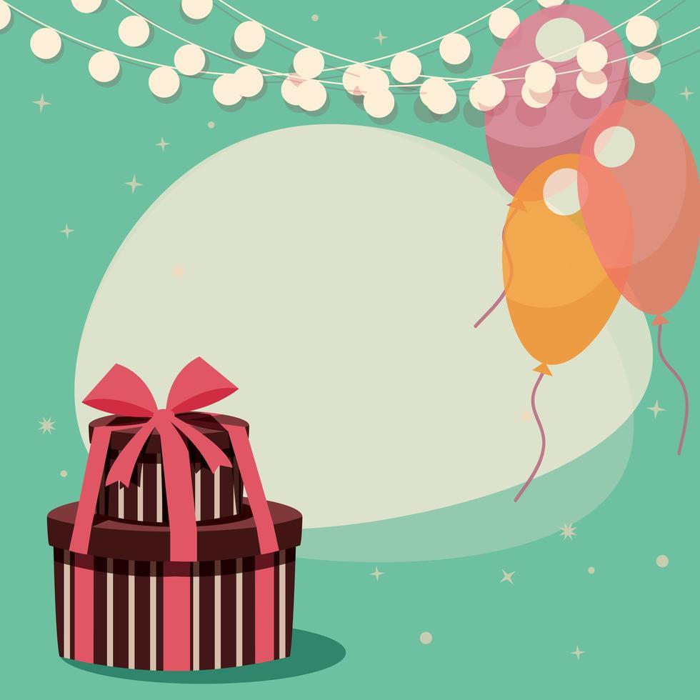 Fond d'anniversaire avec des cadeaux et des ballons vecteur