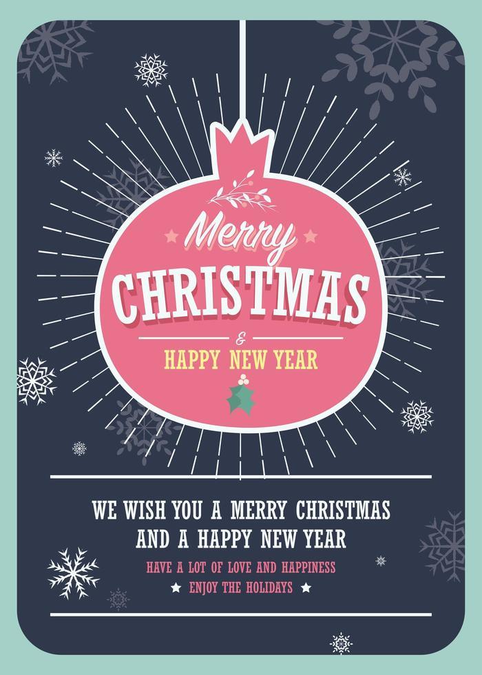 Carte de Noël avec une boule de Noël décorative vecteur
