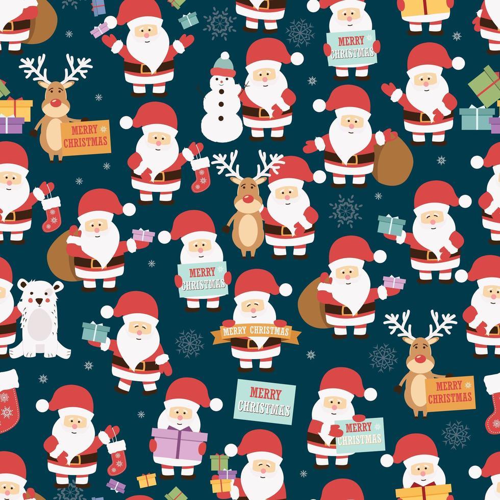 Navidad de patrones sin fisuras con santa claus, renos, osos y regalos vector