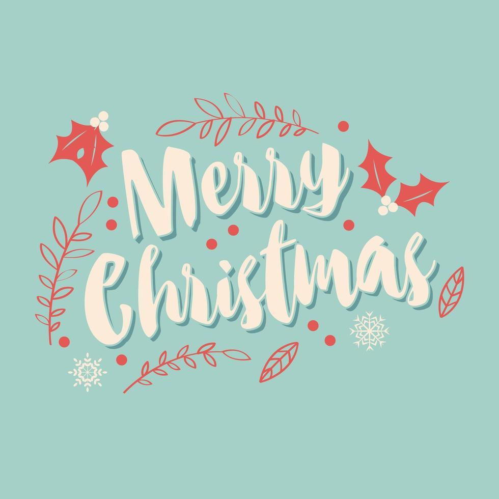 Cartão de Natal tipográfica com folhas vetor