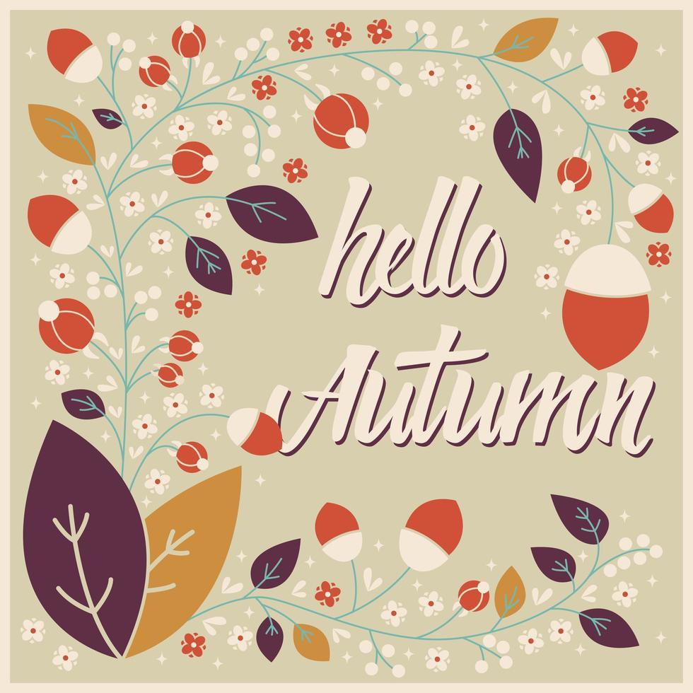 Card design autunno con cornice floreale e messaggio tipografico vettore