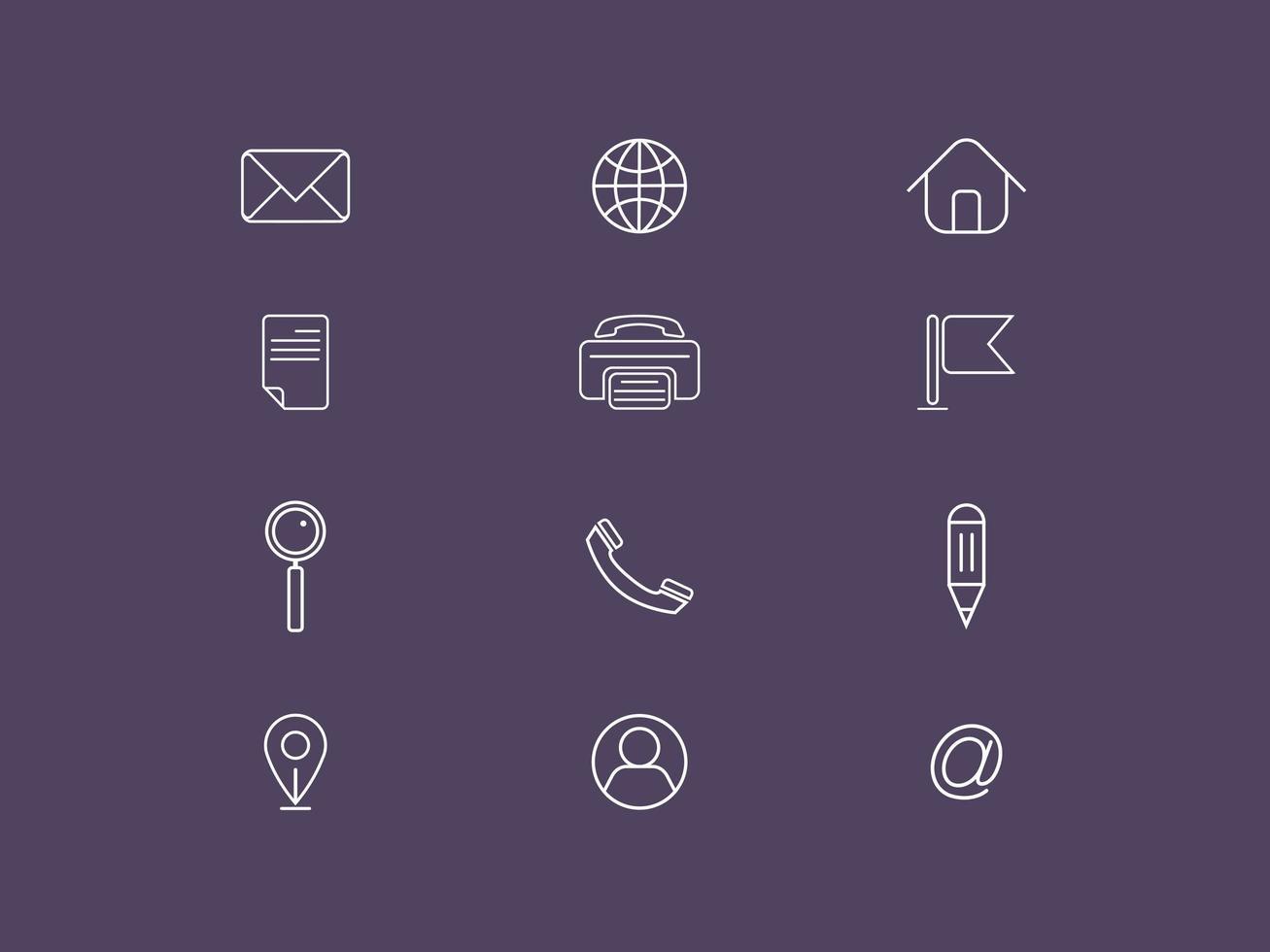 Set di icone vettoriali di contatto