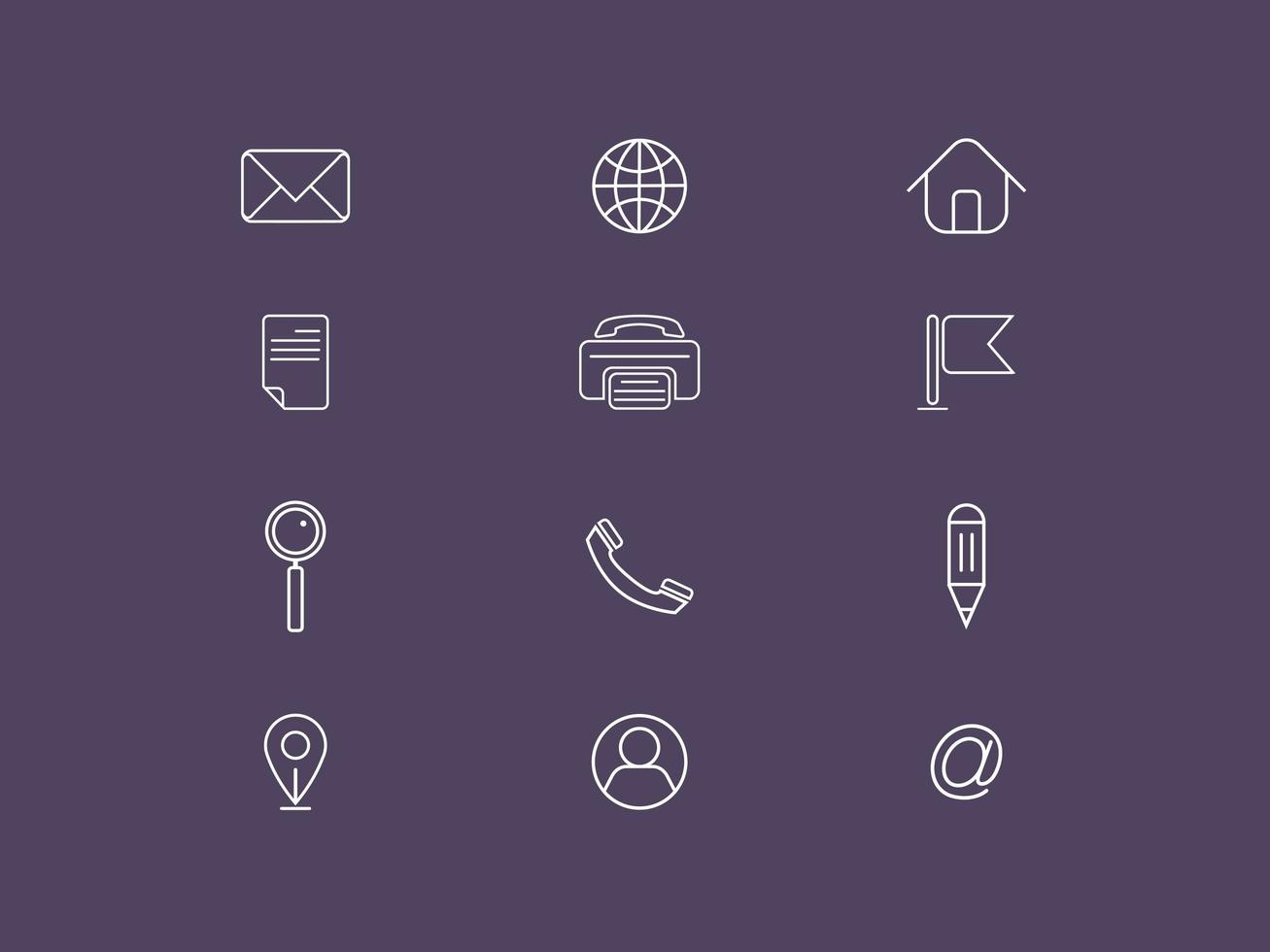 Conjunto de ícones do vetor contato