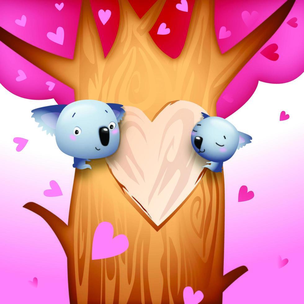 Ursos de Koala românticos do dia dos namorados vetor