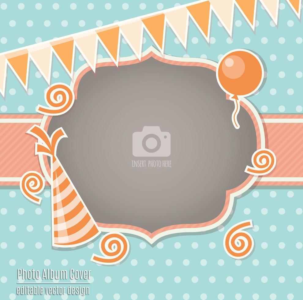 Modelo de capa de álbum de quadro de foto infantil de festa infantil vetor