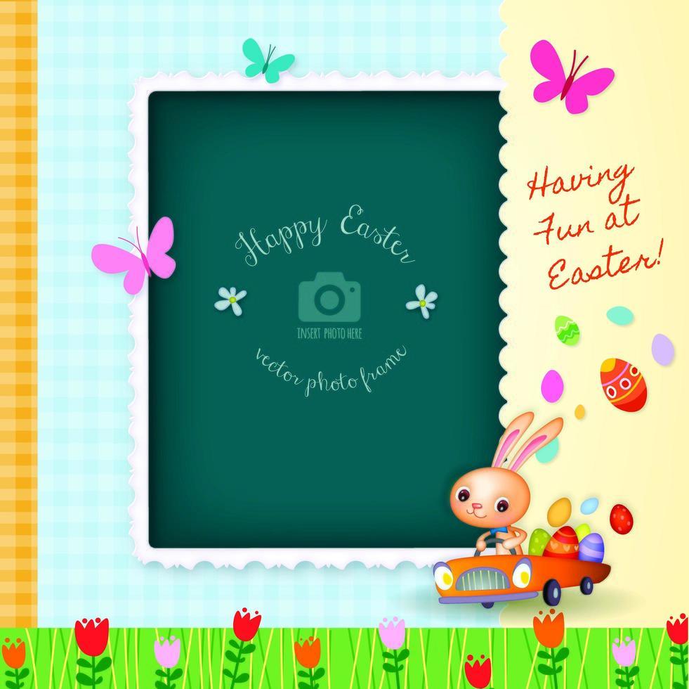 Quadro decorativo da foto da feliz páscoa cartão comemorativo vetor
