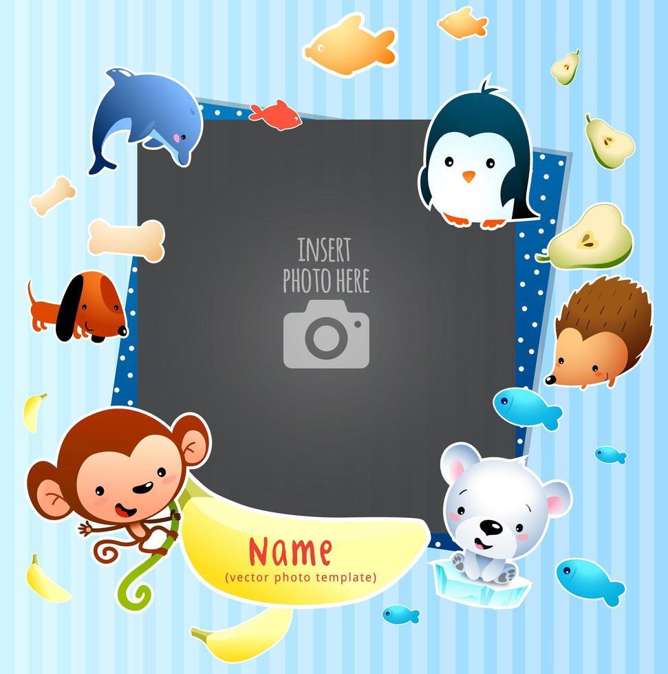 Verspielte Einzelbilderrahmen-Vorlage für Kinder vektor
