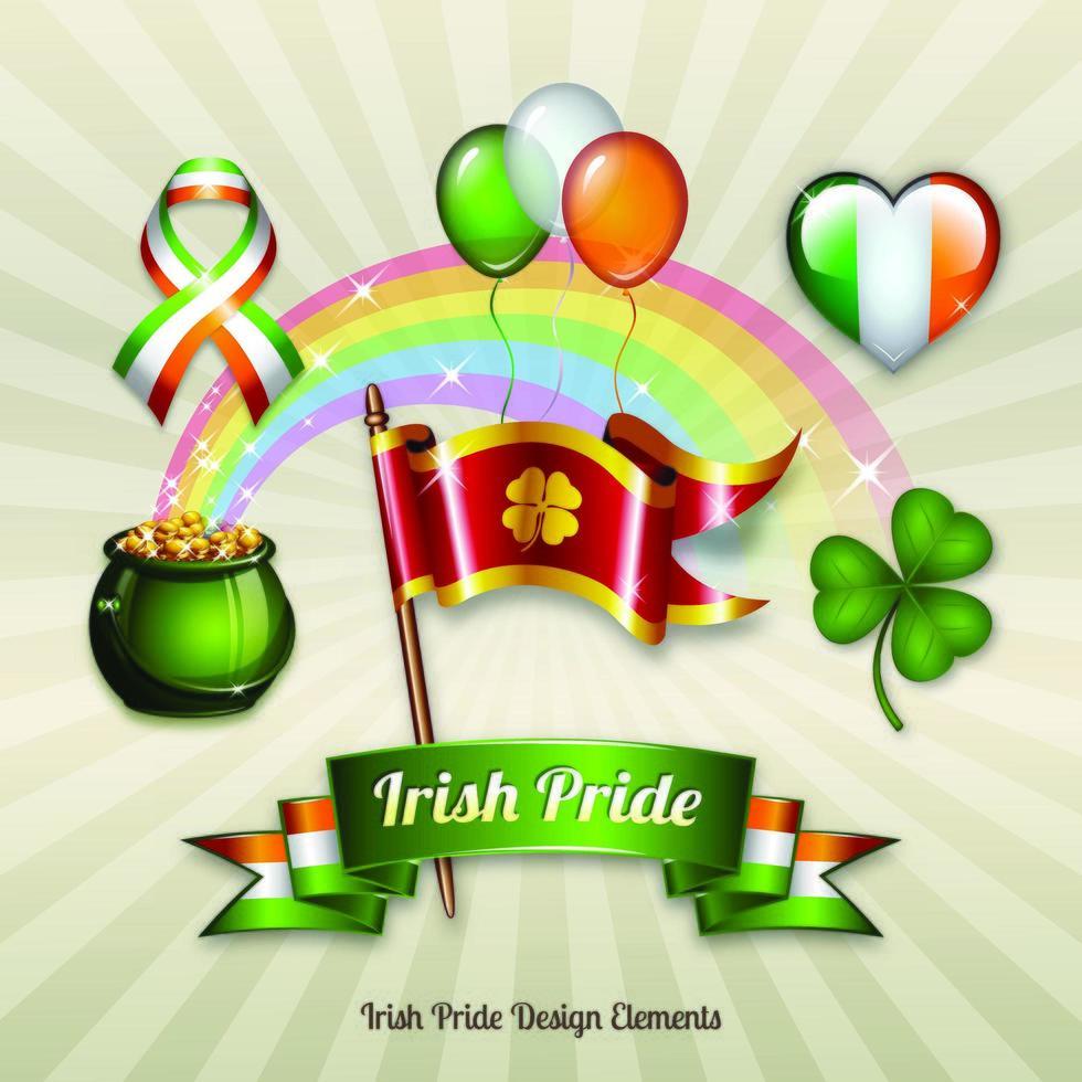 Ensemble d'objets célébrant la fierté irlandaise de la Saint-Patrick vecteur