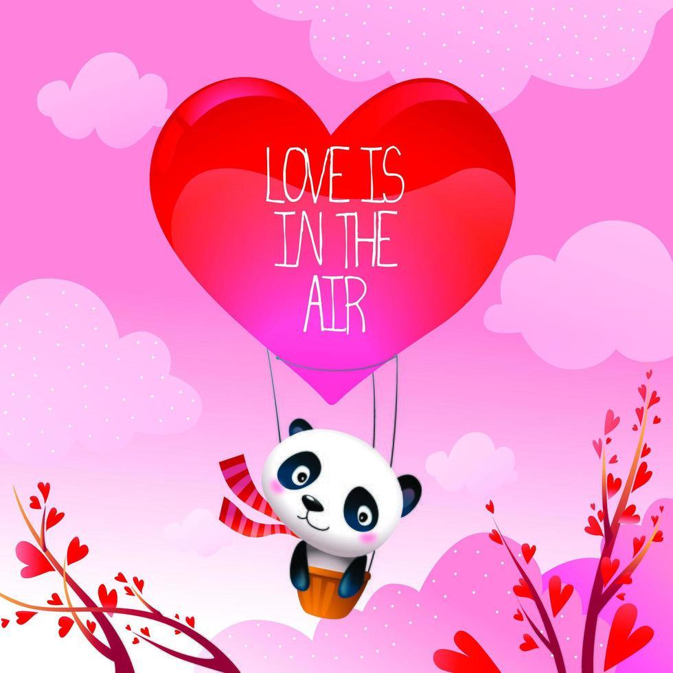 Valentine's Day Panda Bear Shares Love in Hot Air Balloon vector