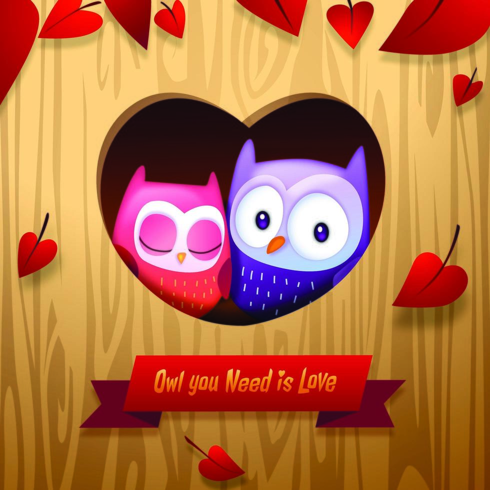 Romantic Valentine's Day Owls Cuddle in Tree Home vector