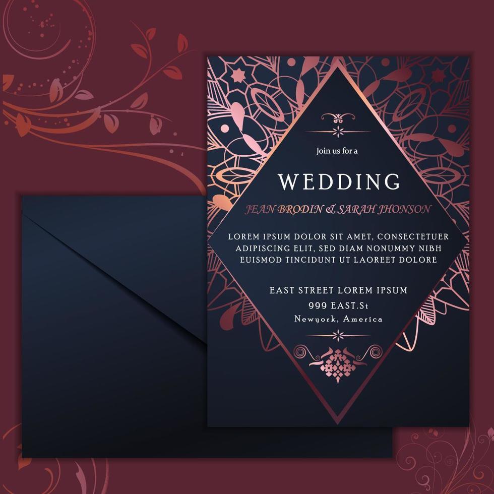 Tarjeta de invitación de boda de lujo con remolinos morados vector