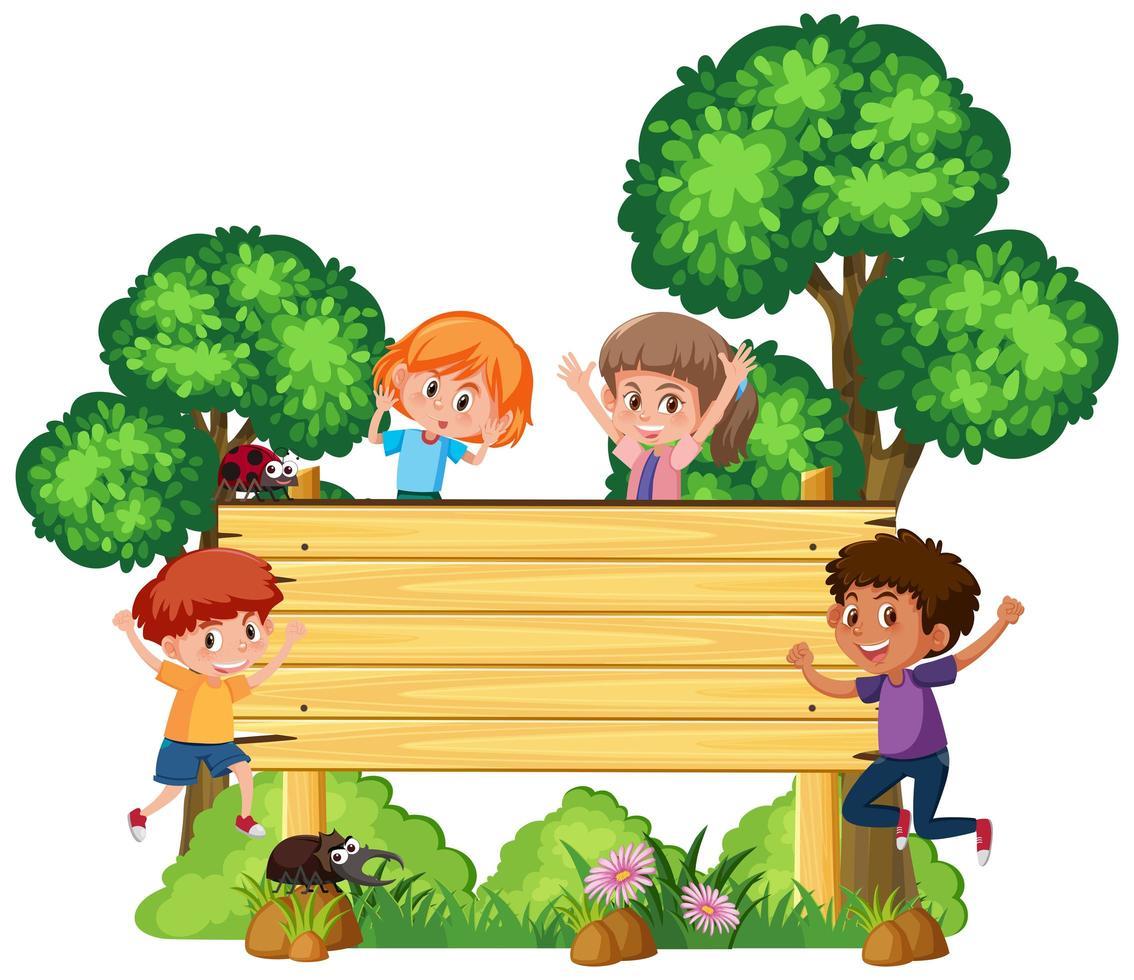 Letrero de madera con niños felices vector