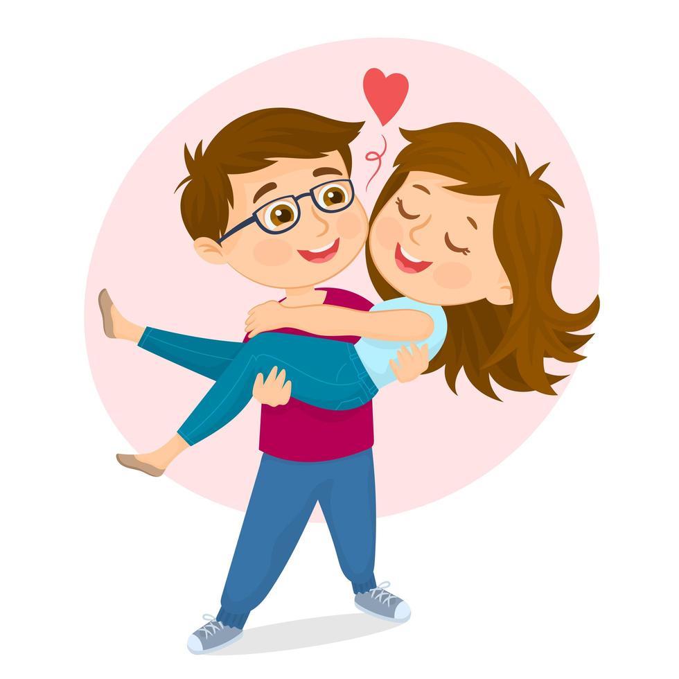 Un hombre cargando a una mujer en sus brazos. vector