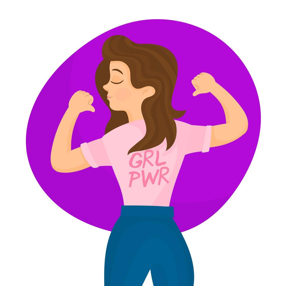 Women pointing at ''grl power'' message vector