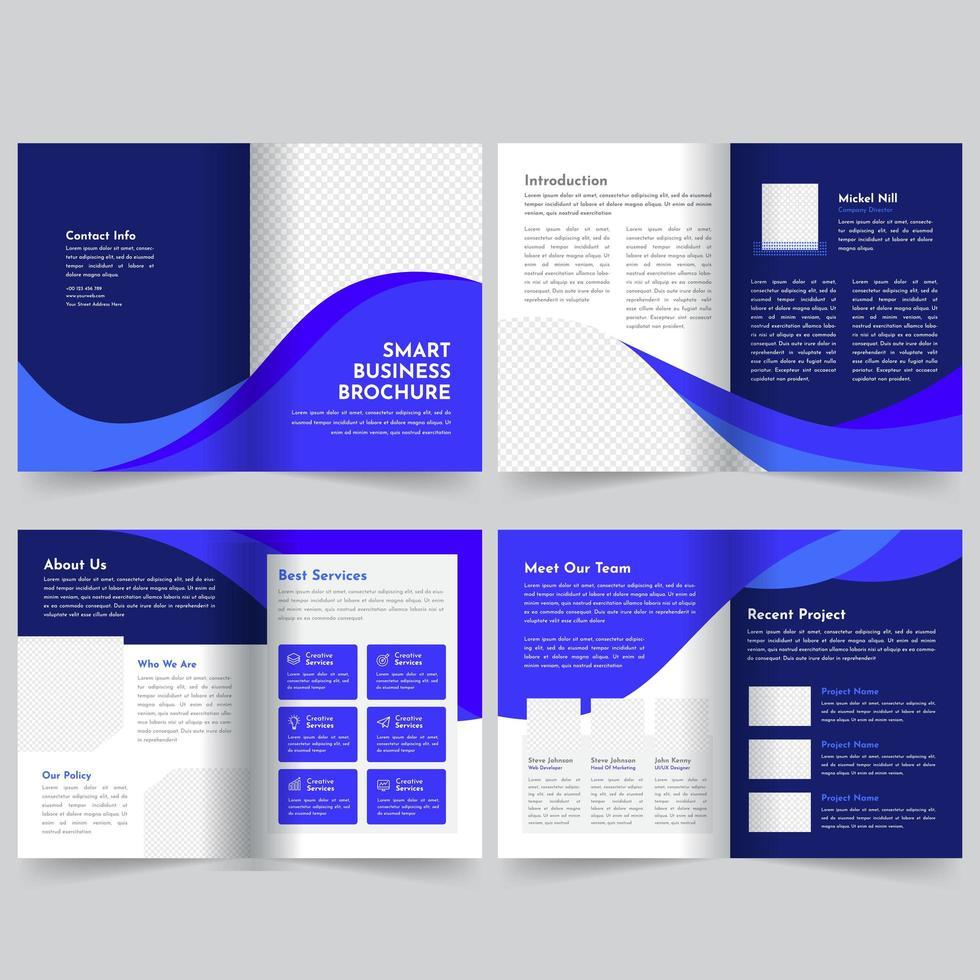 Plantilla de folleto comercial azul vector