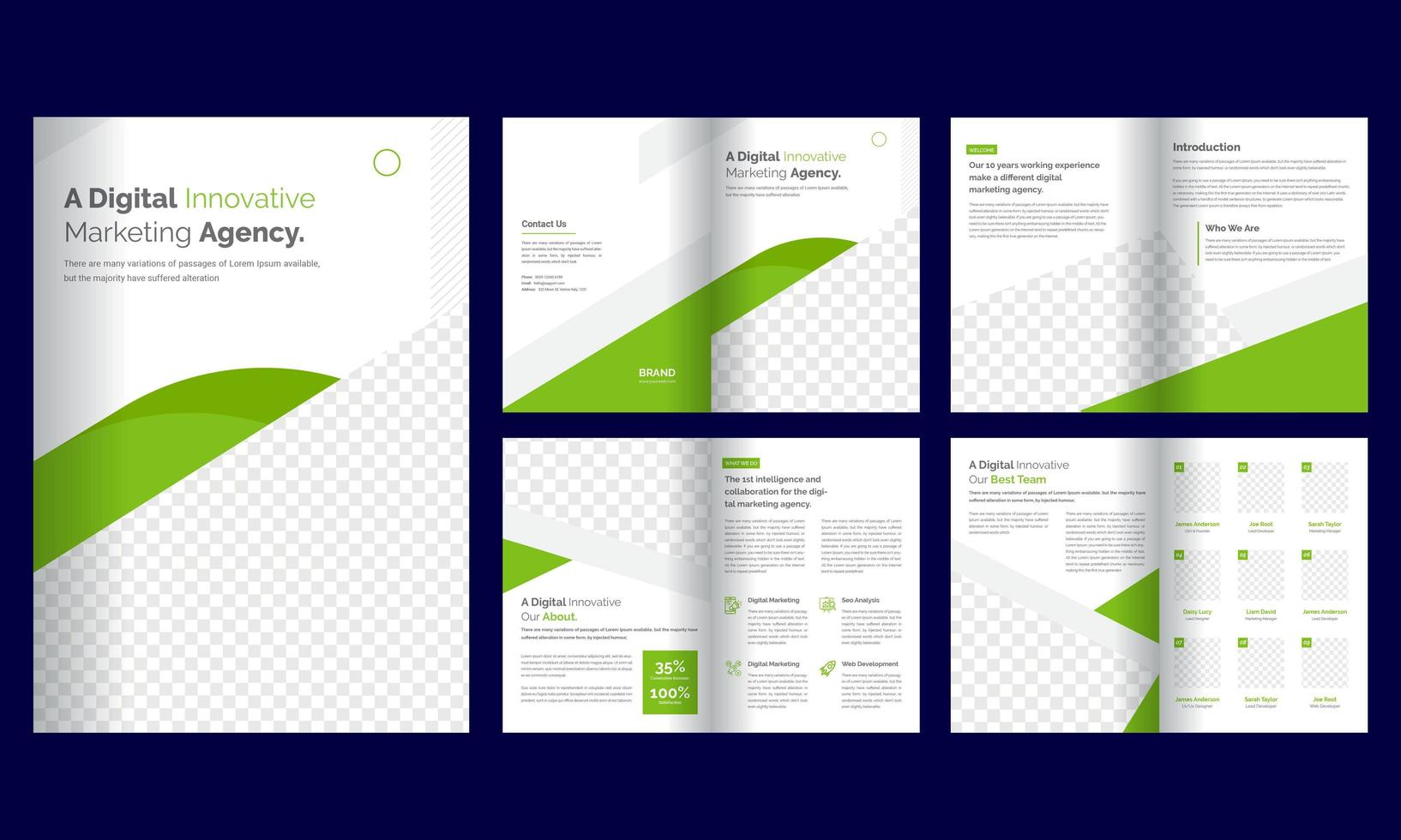 8 page green  business brochure template vector