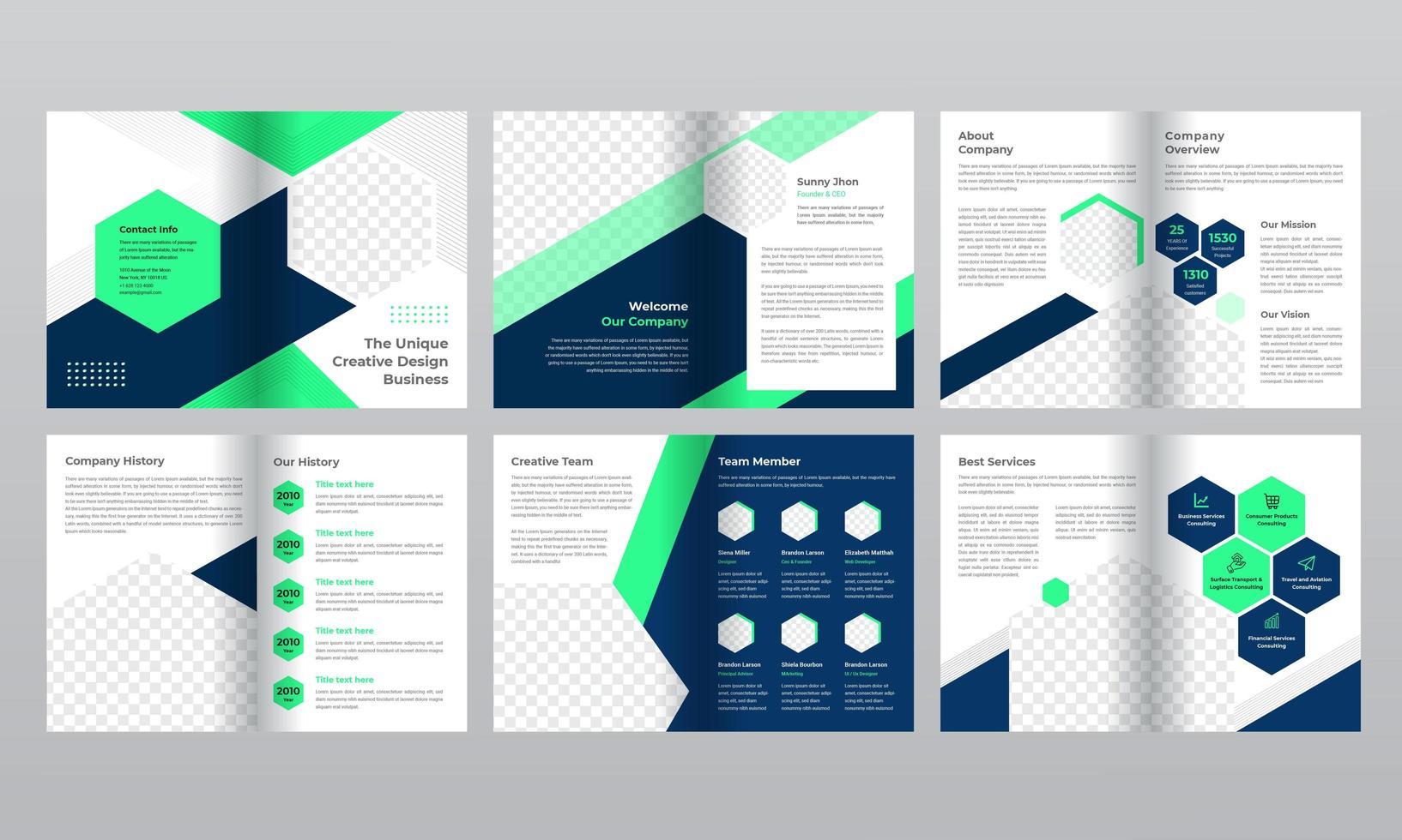 Plantilla de folleto de negocios degradado azul y verde de 12 páginas vector